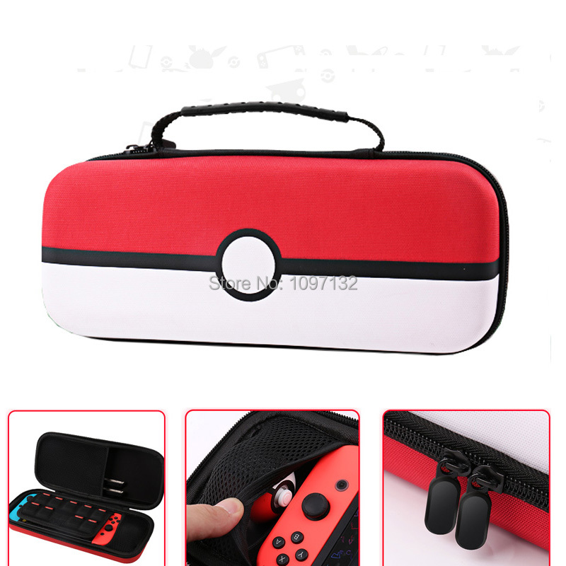 Nylon Carrying Gaming Storage Bag Portable Hard Shell Pouch Case for Nintend Switch NS Console for Poke mon Pokeball