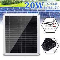20W Solar Panel 12 18V Double USB Polycrystalline Solar Panel with Car Charger for Outdoor Camping Emergency Light Waterproof