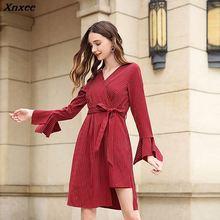 Xnxee Plus Size Autumn Winter Women Dress 2018 Vintage Elegant Solid Party Casual Sexy V-Neck Red ukraine 4XL 5XL