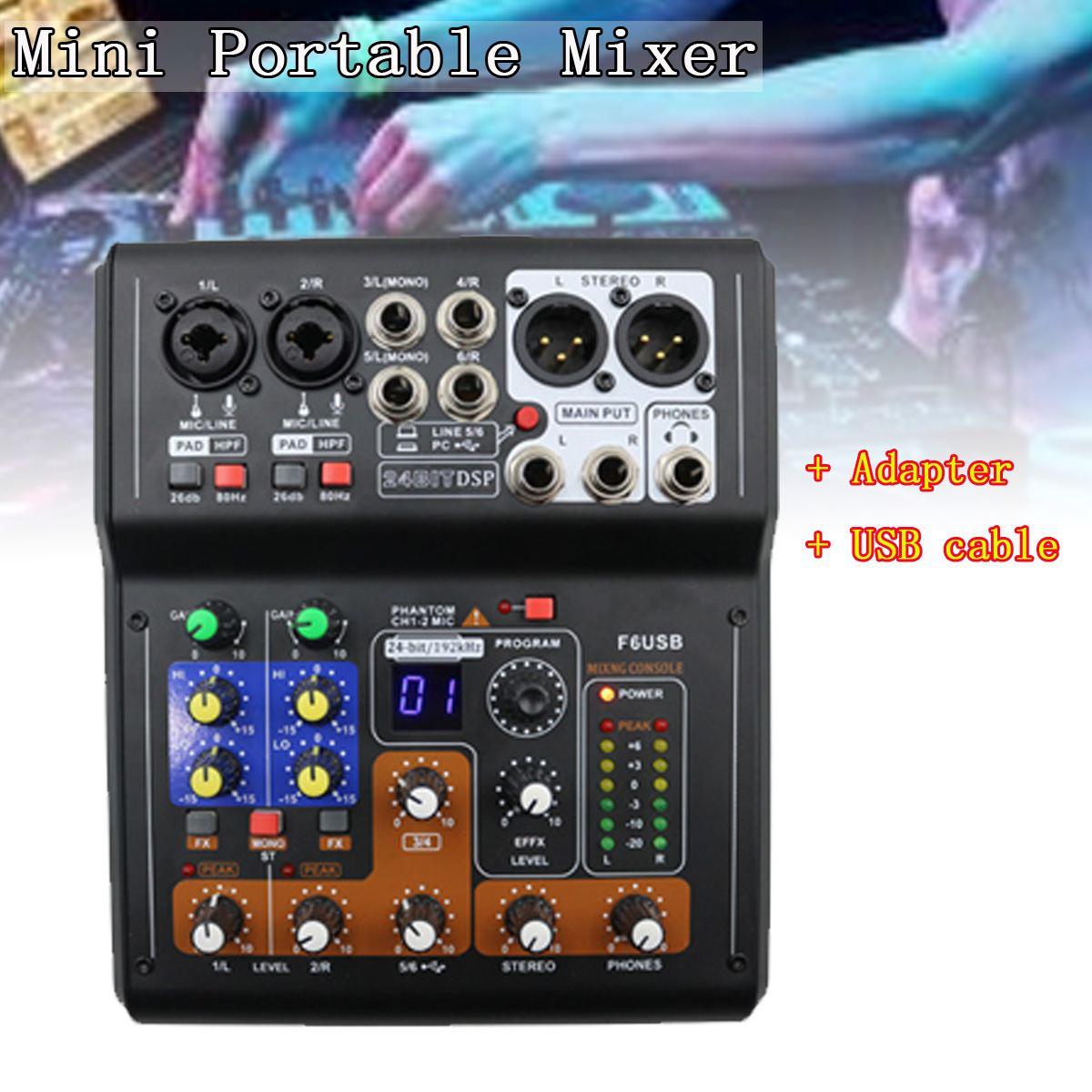 Professional 6 Channel Live Studio Audio Mixer Phantom Console Mini USB Amplifier Digital Mic Sound For Family KTV DJ Equipment