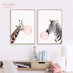 Decoracion Nordica розовый шар Зебра милые животные плакаты с изображением жирафа и принты Nordic холст живопись современный холст искусство без рамы