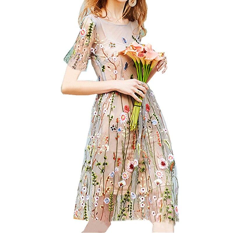Été femmes dentelle pure maille robes de broderie florale à manches courtes taille haute voir à travers élégant Vintage vacances robe Midi