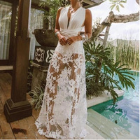 MUXU white lace patchwork dress vestidos elbise fashion clothes frocks kleider summer clothes transparent robe femme backless
