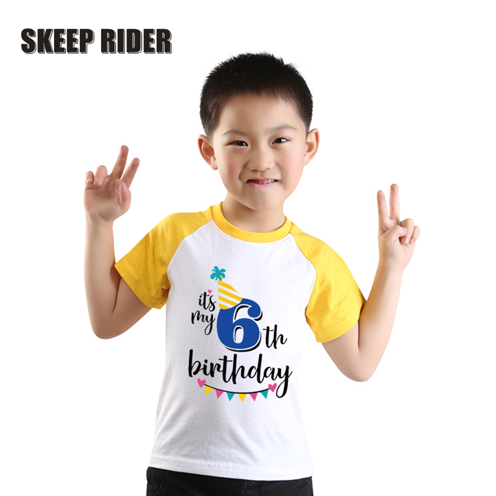 Kids T-Shirts Raglan Boy Birthday Children Short-Sleeve Boys Tee Cotton Summer Yellow