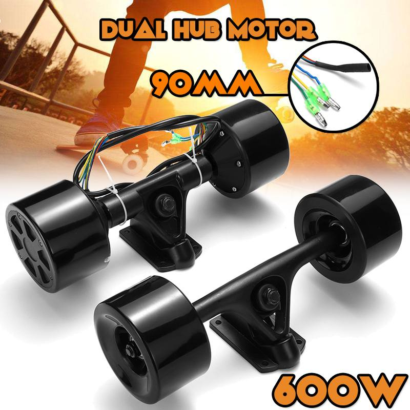 Double Drive Scooter Hub Motor Kit High Power DC Brushless Wheel Motor Remote Control For The Electric Skateboard 600W-in Skate Board from Sports & Entertainment