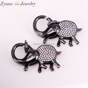 Image 4 - 5PCS ZYZ324 9747 CZ Micro Pave Elephant Lobster Claw Clasp, Cubic Zirconia Pave elephant Connector/Clasp/link, in Mix Colors