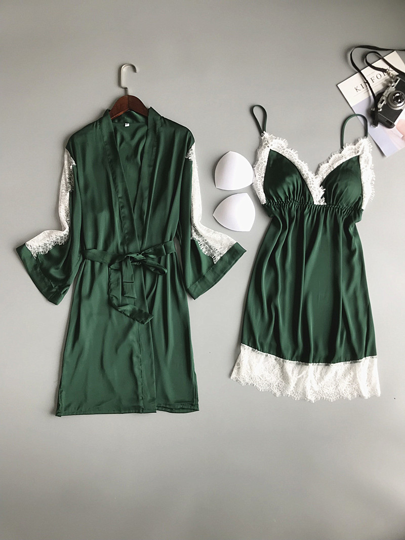 Image 2 - 2019 Summer Women Robe Gown Sets With Chest Pads Sexy Satin Bridesmaid Silk Sleepwear Lace Nightdress Sleeveless Dress Gown-in Robe & Gown Sets from Underwear & Sleepwears