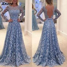 2018 Autumn Women Party Dress Elegant Lace Full Sleeve Backless Slim Sexy Gown Dresses Female Clothes Plus Size S M L XL XXL