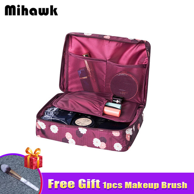 a196a2b11c8b Mihawk Beautician Vanity Necessaire Trip Women Travel Toiletry Wash Bra Underwear  Makeup Case Cosmetic Bag Organizer Accessories