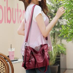 Image 2 - Ladies Retro Large Handbags Fashion PU Leather Shoulder Bag Female Large Tote Handbag Ladies Solid Color Luxury Tote Sac A Main