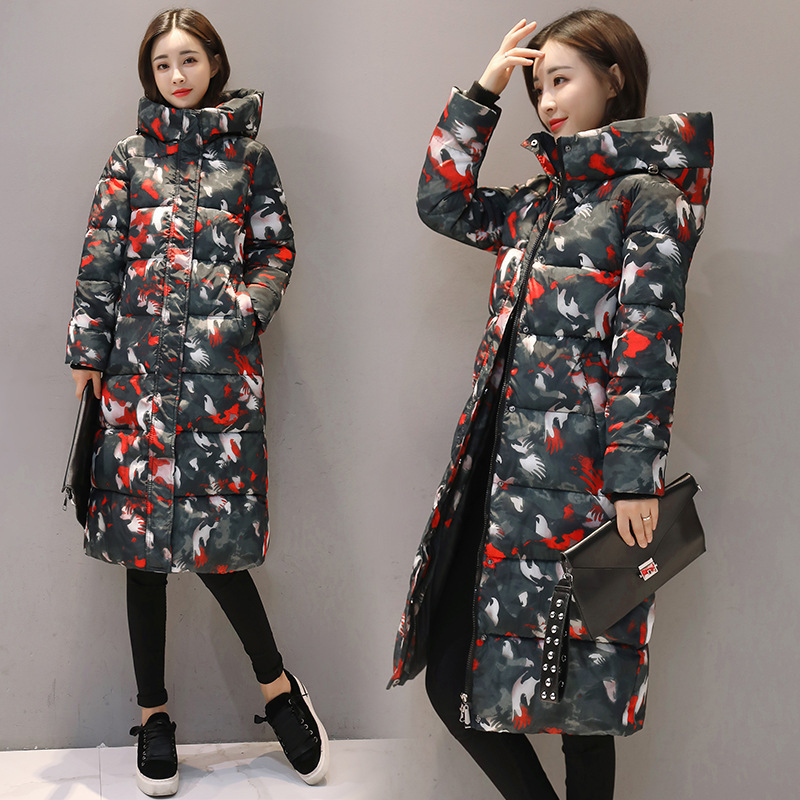 Women Winter   Parka   2018 Casual Long Coat Floral Plus Size Thick Warm Jackets and Coats Female Long Hoodies   Parka   Ukraine 3XL New