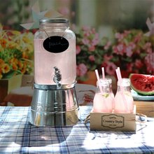 4L Drink Dispenser Glass Jar and Iron Station Juice Coffee Pitcher Water Beverage Dispenser With Faucet Home Party Kitchen Tools(China)