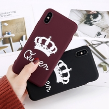 Matte Crown Couples Phone Case For iPhone XS Max X XR King Queen Letter Cases 7 6s 8 Plus Solid Candy Color Soft TPU Full Cover