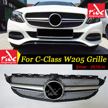 For Benz W205 ABS Material Front Bumper C-class C180 C200 C250 C300 Without Emblem Sport Style Silver Front Mesh Grille 2015-in abs material blcak color trd style front grille for 2015 2017 hilux revo