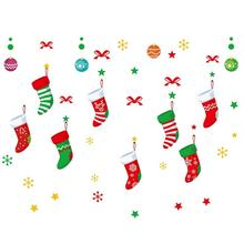 Christmas Sock Window Sticker Cartoon Wall Stickers Decoration Santa Claus Snow PVC Removable for Xmas Home Decals