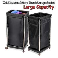 Multifunction Bath Dirty Towel Storage Basket with Wheels Salon Laundry Clothes Organizer Bucket Trolley Cart Reusable Black