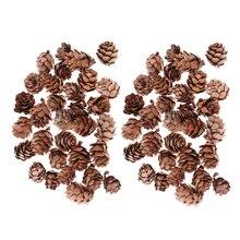 60 шт., мини-декоративный шишка, сосновые шишки, шишки для рождественской елки, ваза, наполнитель для чаши, дисплеи, ремесла, домашний декор