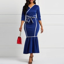 Women Dress Long Sleeves Mermaid Falbala V-Neck Color Block Women midi Dresses Bowknot Elegant Female Party Dinner Dress