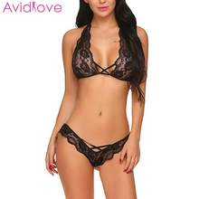 Avidlove Sexy Lingerie Set Hot Erotic Elastic Waist Women Set Low Sexy Hollow Lingerie Home Floral Out Slim Lace Nightwear(China)