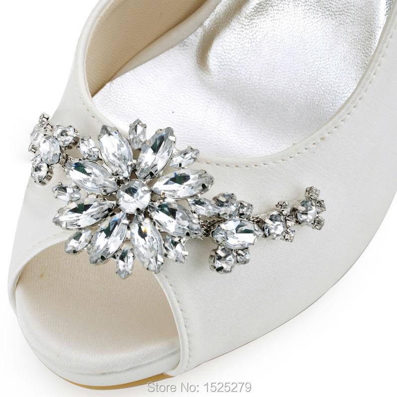 HP1552I femmes chaussures taille 7 ivoire mariée soirée fête D'orsay plate-forme à talons hauts cristal dames mariée demoiselle d'honneur chaussures de mariage - 6