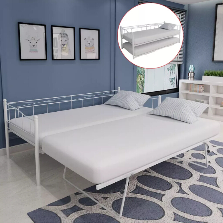 VidaXL Durable Bed Frame With Four Wheels Arched Slats Add To Its Sleeping Comfort 180 X 200/90 X 200 Cm White Steel 242683
