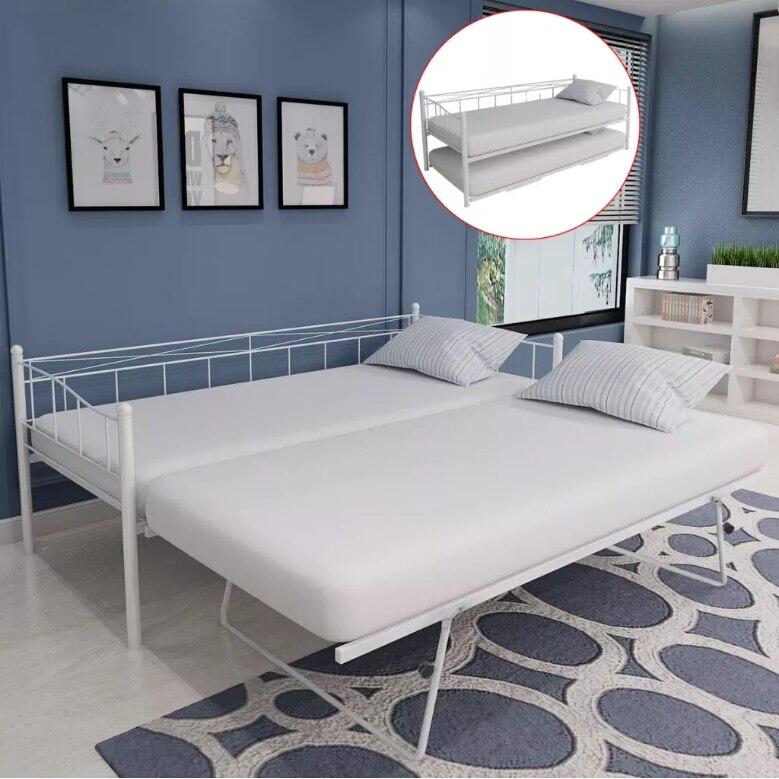 VidaXL cadre de lit Durable à quatre roues lattes arquées ajouter à son confort de couchage 180X200/90X200 Cm blanc acier 242683