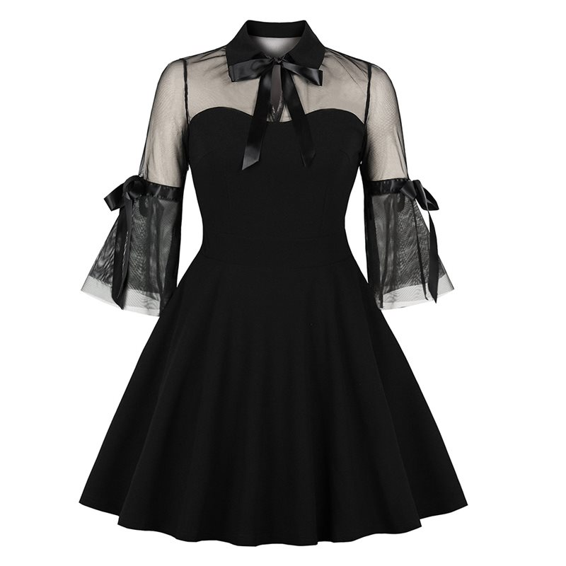 Women Gothic Mini Dress Summer 2019 New Black A Line Lace Up Elegant Pleated School Casual Goth Streetwear Sexy Short Dresses Women's Clothing