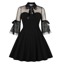 Rosetic Women Gothic Lace Dress Party Vintage Sexy See Through Elegant Bow Black A Line Summer Goth School Mesh Casual Dresses все цены