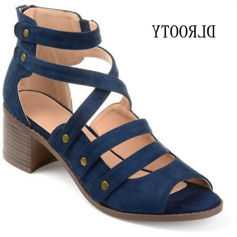 Woman Sandals Shoes 2019 Summer Style Pumps High Heels Thick Peep Toe Zip Fashion Rivet Solid Plus Size 34 43