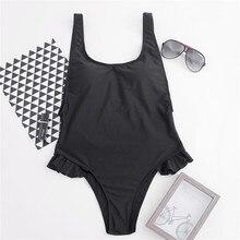 купить Summer High Cut Bikini Set Ruffle Side Bathing Suit One Piece Swimwear Women Backless Bodysuit Swimsuit Solid Swim Suits Biquini дешево