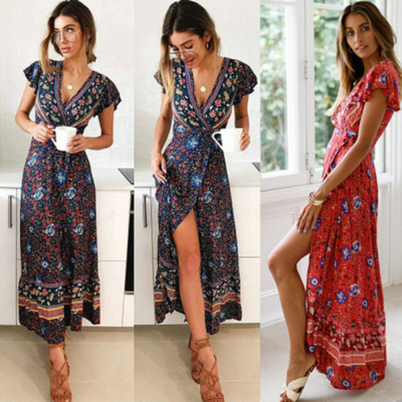 Women Boho V Neck Slim Waist Arrival Sexy Long Maxi Dress Summer Beach Hot Party Floral Printed Sundress 2019