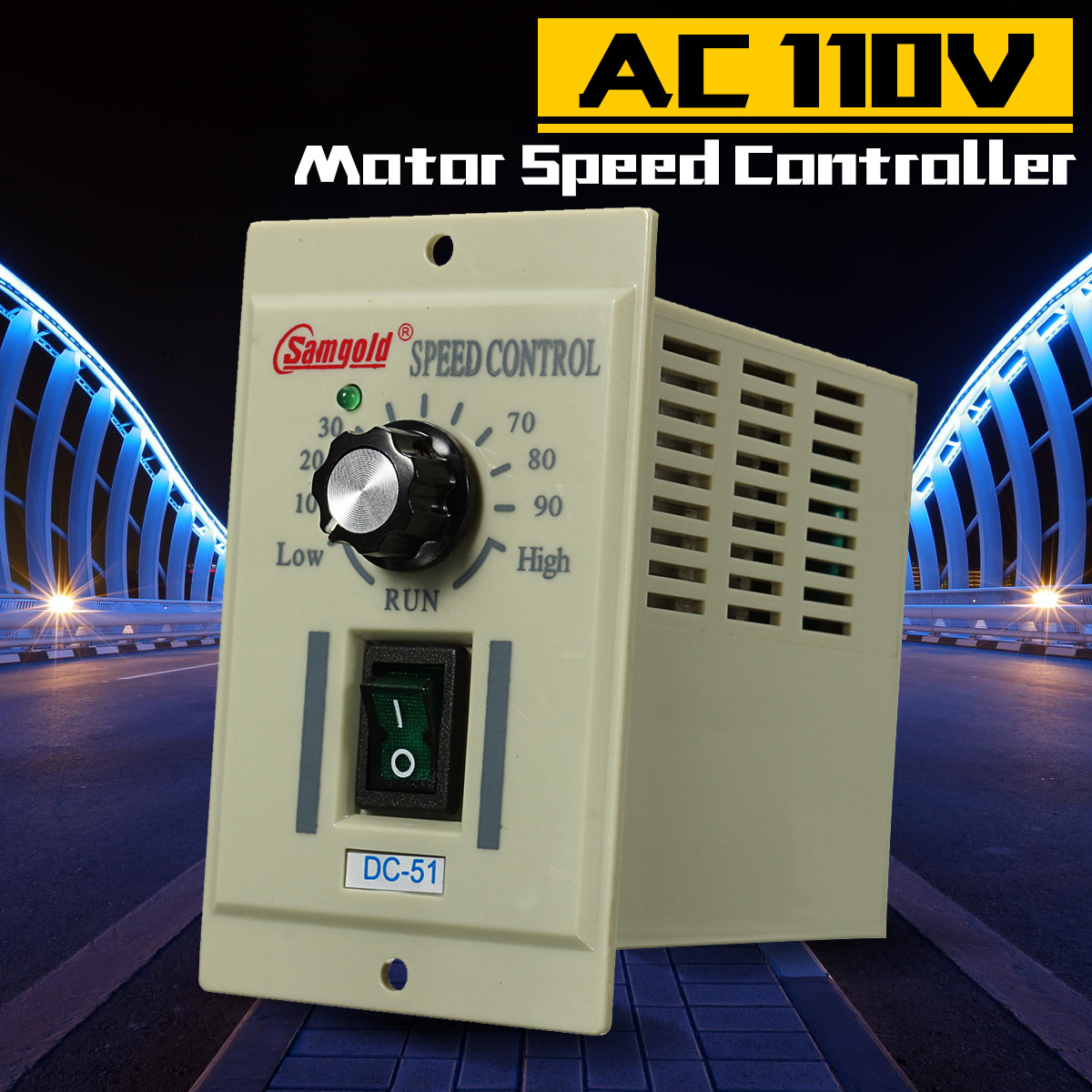 DC-51 1/3 Phase AC 110V Motor Speed Controller 400W Variable Adjust For DC 90V Over Current/Short Circuit Protection AccessoriesDC-51 1/3 Phase AC 110V Motor Speed Controller 400W Variable Adjust For DC 90V Over Current/Short Circuit Protection Accessories