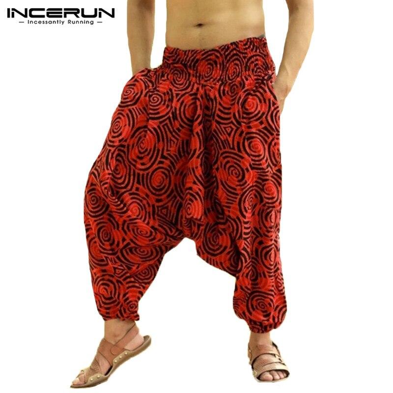 INCERUN 2019 Drop Crotch Men Harem Pants Print Joggers Baggy Hiphop Trousers Men Loose Streetwear Retro Men Casual Pants Summer