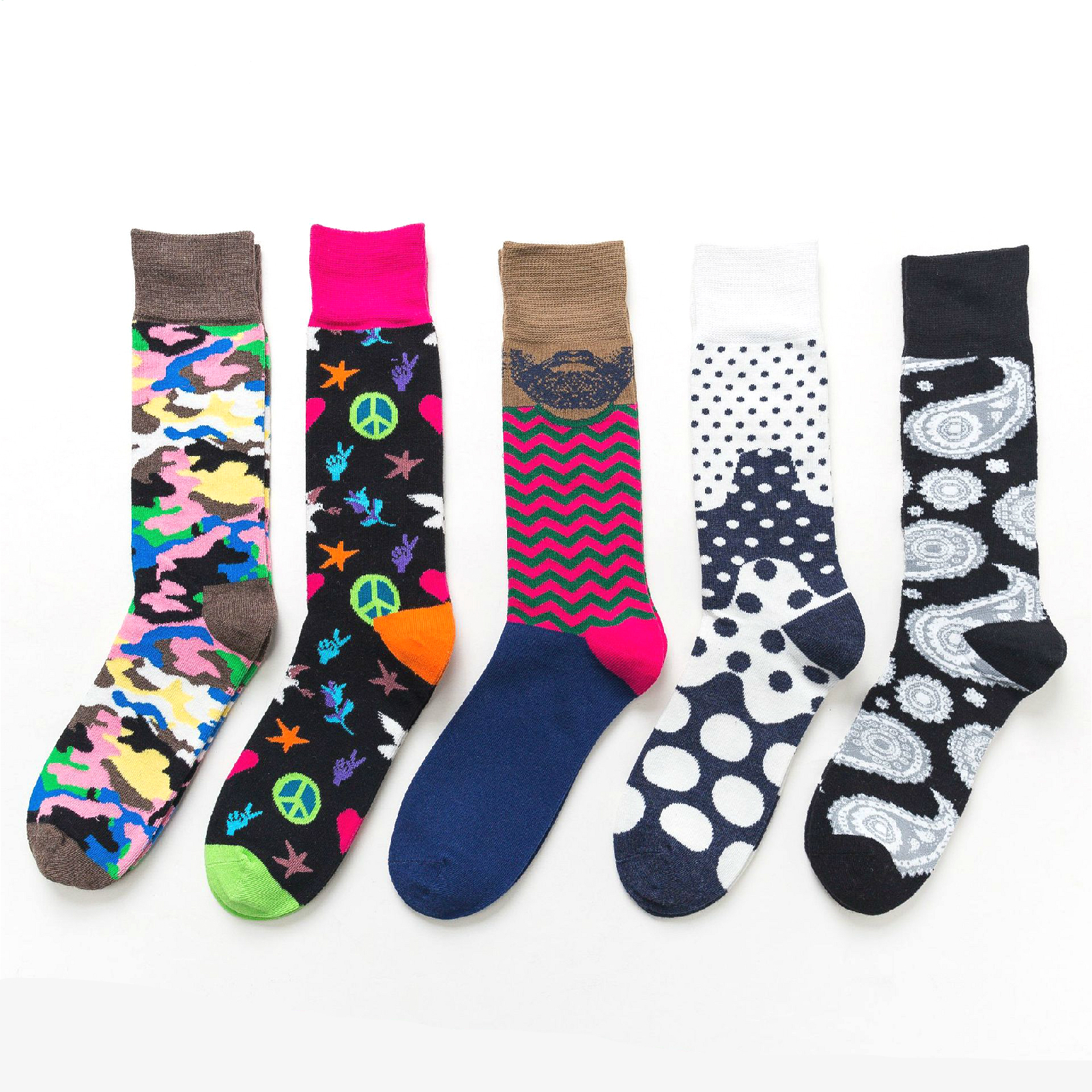 PEONFLY Leopard Print Socks Men Funny Abstract Pattern Colorful Dot Socks Casual Star Harajuku Motion Happy Socks