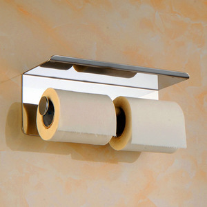 Image 5 - Bathroom Tissue Paper Holder Bathroom Wall Mount Double Toilet Paper Holder with Shelf for Restaurant Hotel Home Shopping Mall