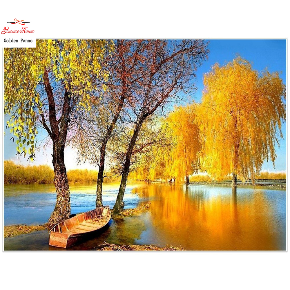 Golden panno 5D diamond painting diamond square full diamond embroidered landscape autumn stras wall decoration
