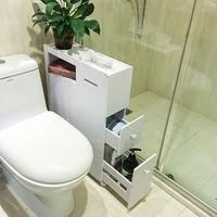 PVC Three Drawers Bathroom Gadgets Shelves Toilet Storage Cabinet Toilet Tank Waterproof Be Born Ark Floor Type Triple Tier