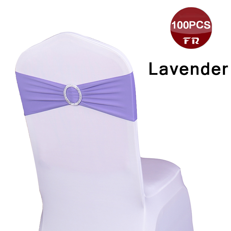 Shipping Free 100PC Chair Sash Bands Spandex 15X35cm Purple Stretch Lycra Chair Cover Sashes Bows with