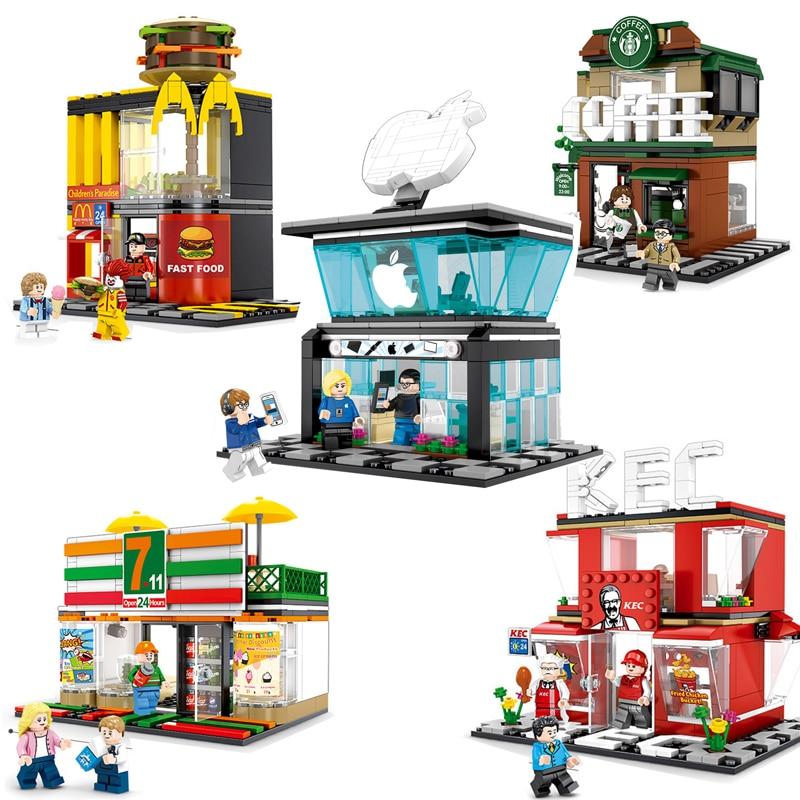 Compatible Legoings City Street View 7-11 KEC Mcdonald Noodle Restaurant Coffee Apple store Music bar Building blocks bricks toy