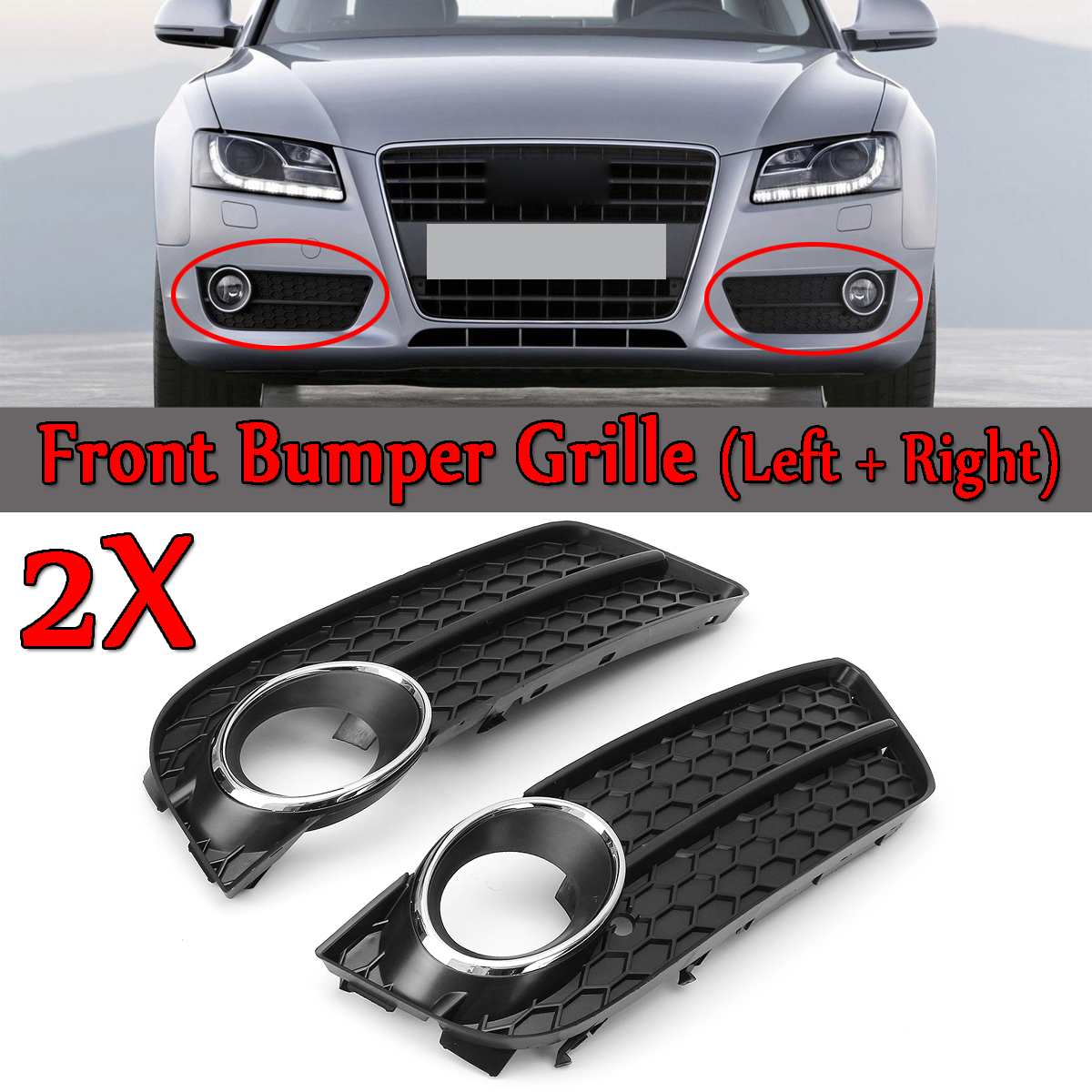 2pcs Front Bumper Fog Light Lamp Racing Grille Grill Cover For Audi A5 For Coupe/Sportback 2008-11 Cabriolet 10-11 Chrome Trim2pcs Front Bumper Fog Light Lamp Racing Grille Grill Cover For Audi A5 For Coupe/Sportback 2008-11 Cabriolet 10-11 Chrome Trim