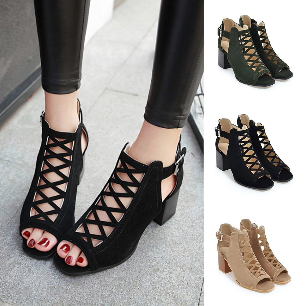 Women Sandals High-Heeled Ladies Shoes Female Summer New Fish-Mouth Hot Toe Romanesque