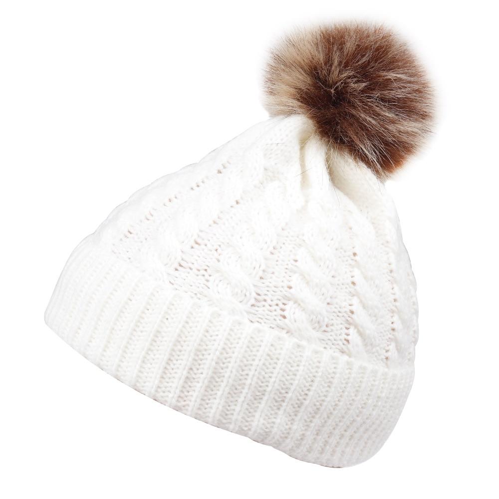 Child Warm Knit Hat Fur Pom Crochet Ski Cap Cute Baby Unisex Beanie Kids Accessories Winter Warm Hat Boys' Baby Clothing Accessories