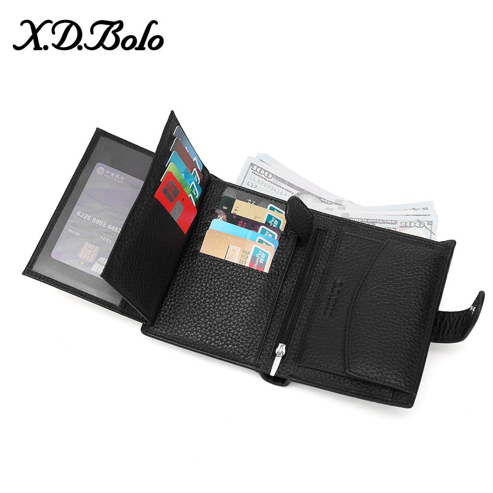 X.D.BOLO Luxury 100% Genuine Leather Wallet Fashion Short Men Wallet Casual Soild Men Wallets With Coin Pocket Purses Male