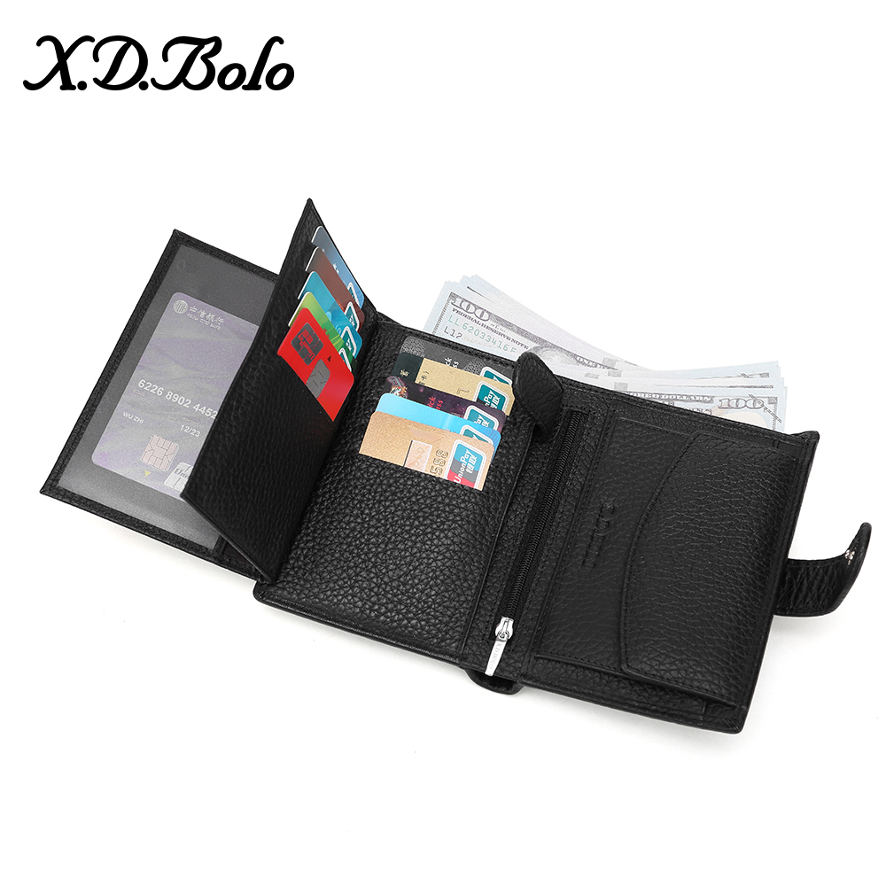 X.D.BOLO Luxury 100% Genuine Leather Wallet Fashion Short Men Wallet Casual Soild Men Wallets With Coin Pocket Purses Male