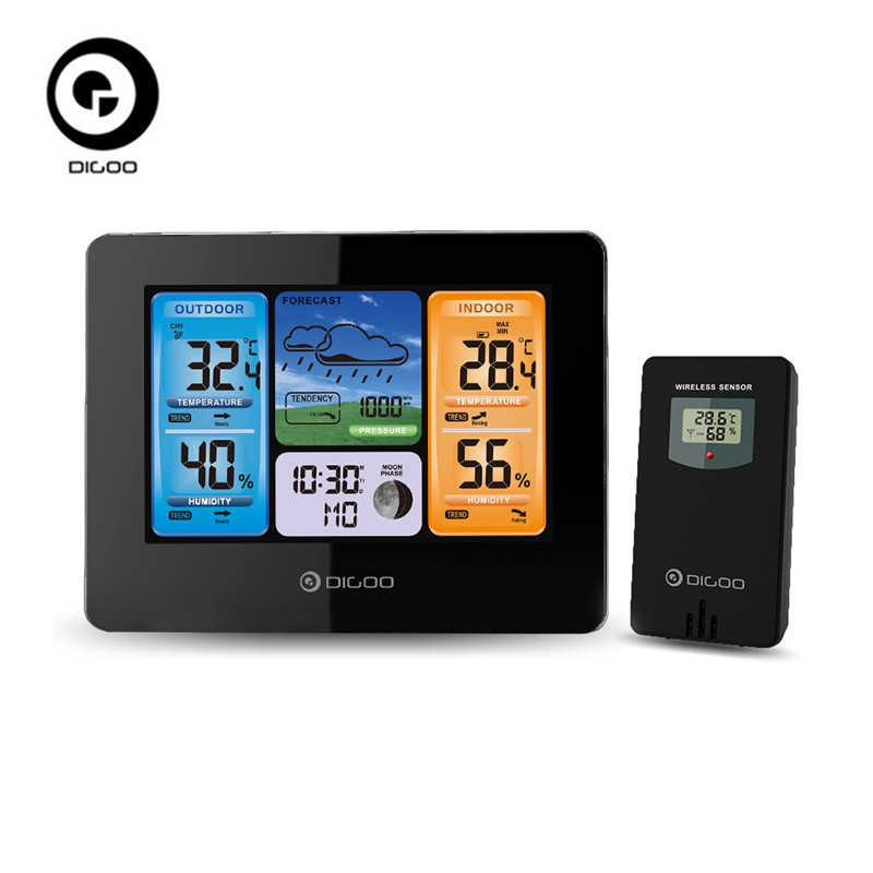 Digoo DG-EX001 WIFI Smart APP Écran Couleur Station Météo Sans Fil Température Humidité Extérieure Sen
