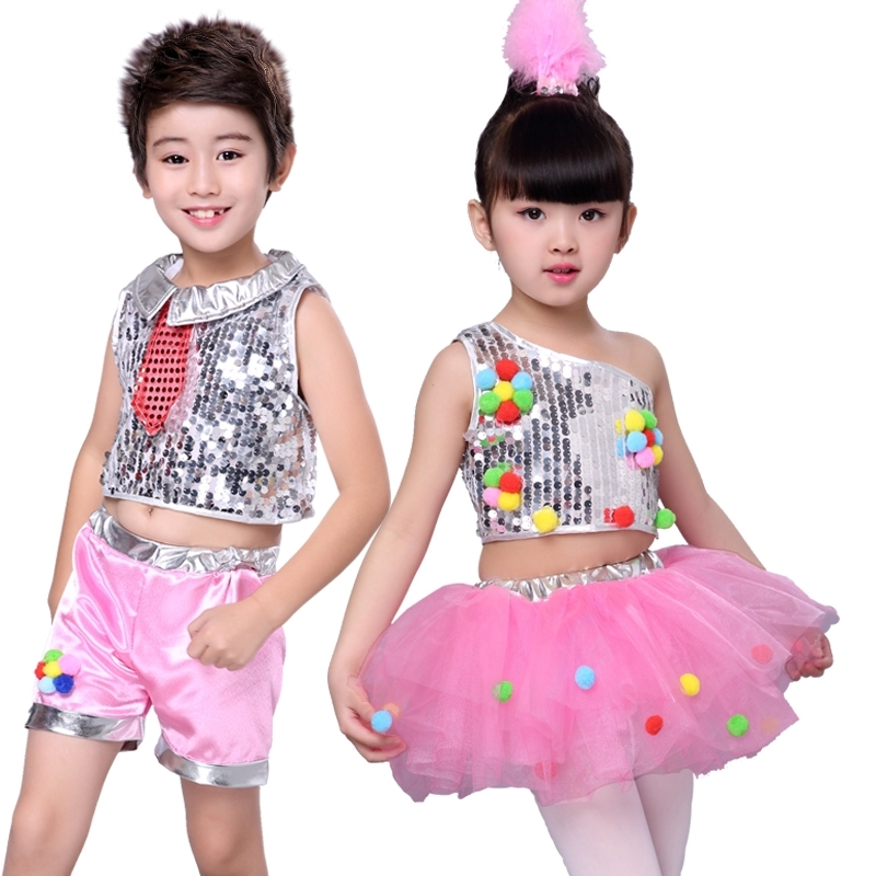 Children's Sequined Jazz Dress, Pengpeng Skirt, Dance Gauze Skirt, Girl's Modern Dance Dress Kindergarten