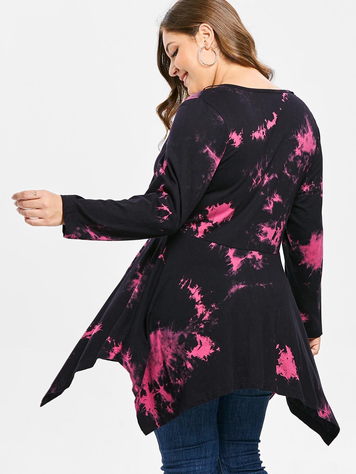 Wipalo Women Plus Size Cutout Tie Dye Handkerchief Tunic T Shirt Casual V  Neck Long Leeves Asymmetrical Tee 5XL Big Size Tops-in T-Shirts from Women s  ... 17dd17b9ca09