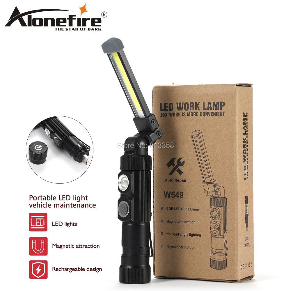 LED COB Inspection Lamp Work Light Flexible Rechargeable Hand Torch Magnetic 1pc