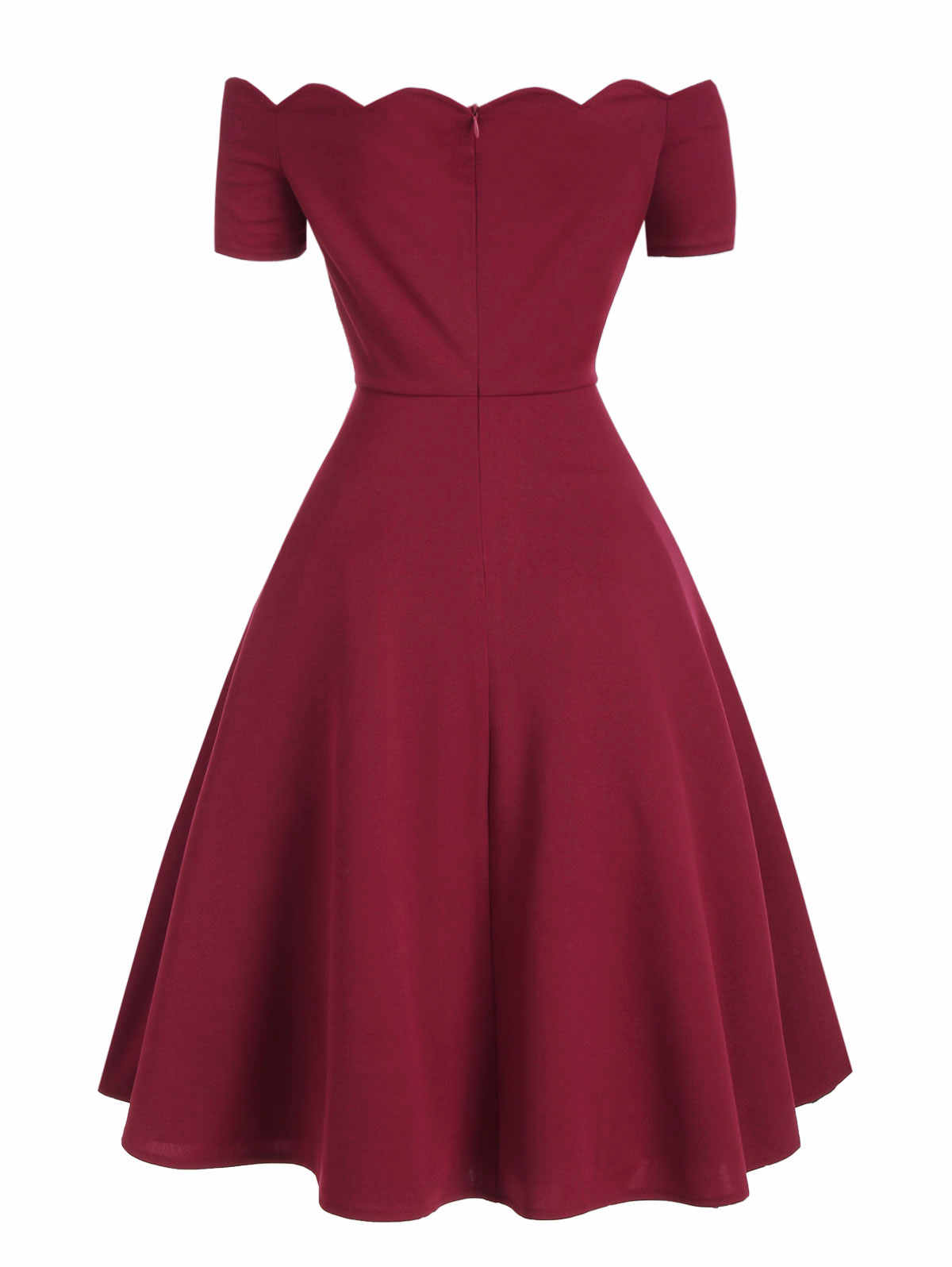 Wisalo женское элегантное волнистое с открытыми плечами расклешенное платье с коротким рукавом трапециевидной формы длиной до колена вечерние платья винтажные Vestidos