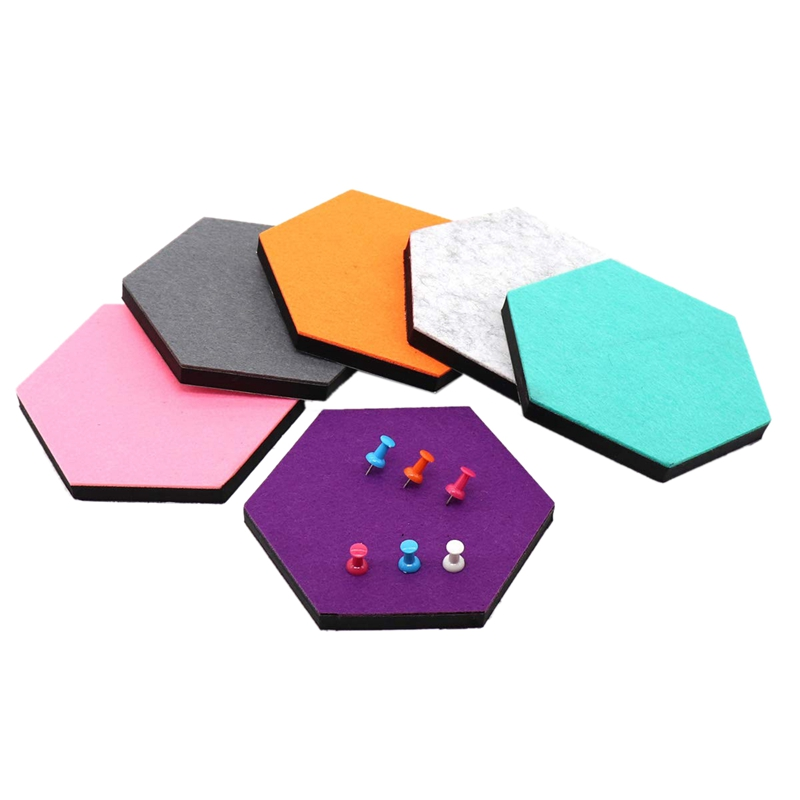 Set Of 6 Hexagon Felt Pin Board Self Adhesive Bulletin Memo Photo Cork Boards Colorful Foam Wall Decorative Tiles With 6 Pushp